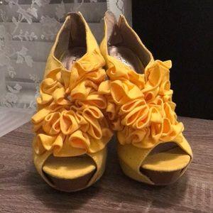 Yellow Ruffle Heels